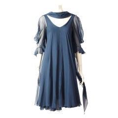 Stavropoulus Ink Blue Chiffon Cocktail Dress