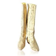 Andrea Pfister Gold Tone Karung Boots