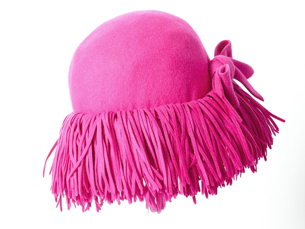 Fuchsia Fringed Hat 2