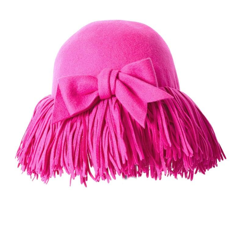 Fuchsia Fringed Hat 1