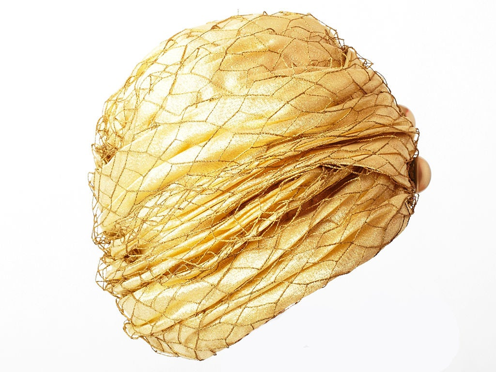 Christian Dior gold lame turban with gold