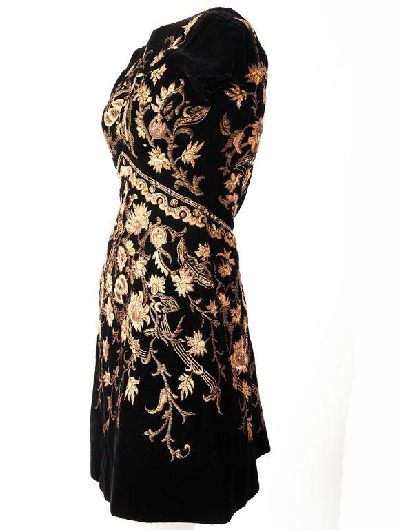 Lanvin Castillo Embroidered Velvet Dress 2