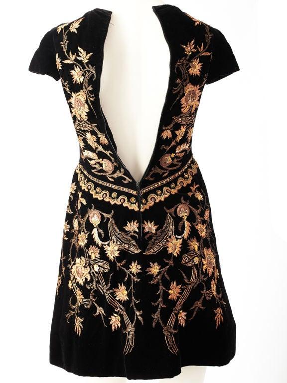 Lanvin Castillo Embroidered Velvet Dress 4