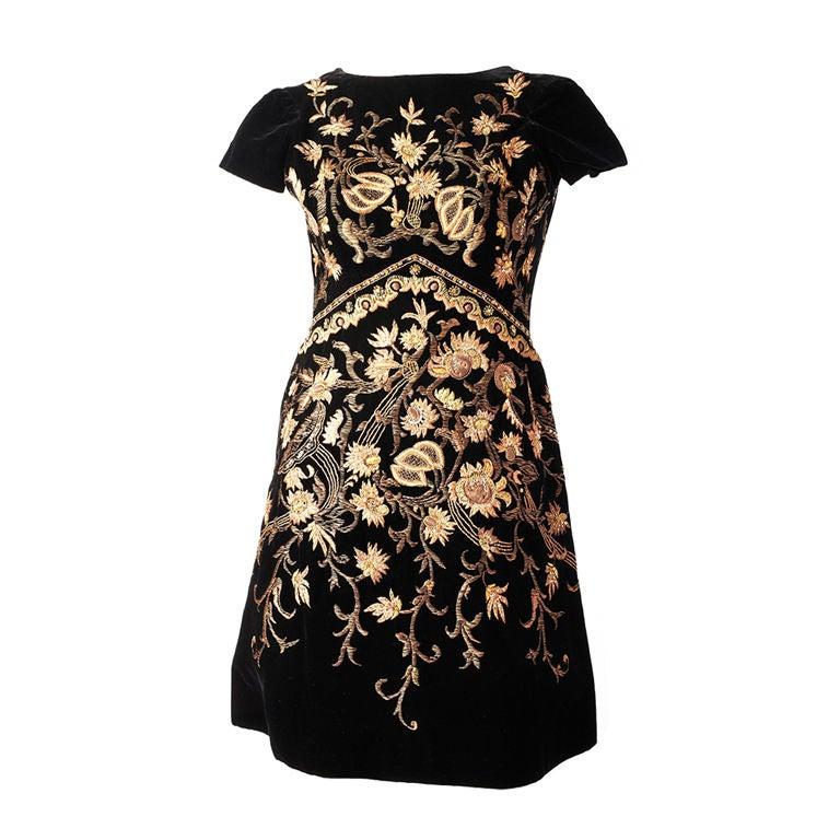 Lanvin Castillo Embroidered Velvet Dress 1