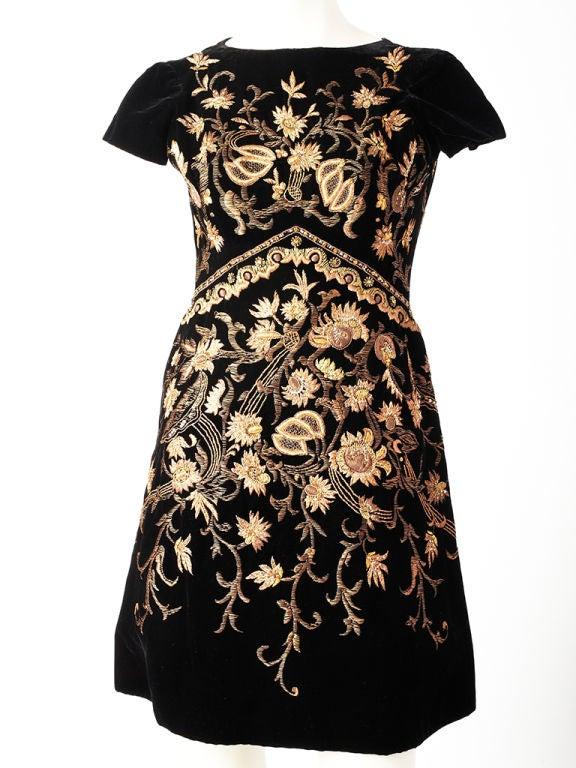 Lanvin Castillo Embroidered Velvet Dress 6