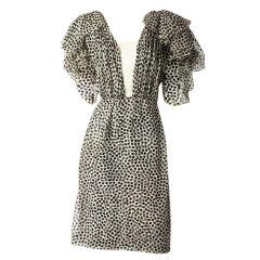 Jacqueline de Ribes Chiffon Polka Dot Dress