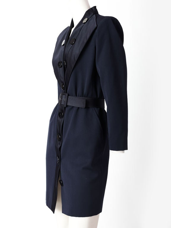 "Yves St. laurent midnight blue, wool, "" tuxedo "" style dress with black wide satin "" lapel "" collar and button embellishment detail."