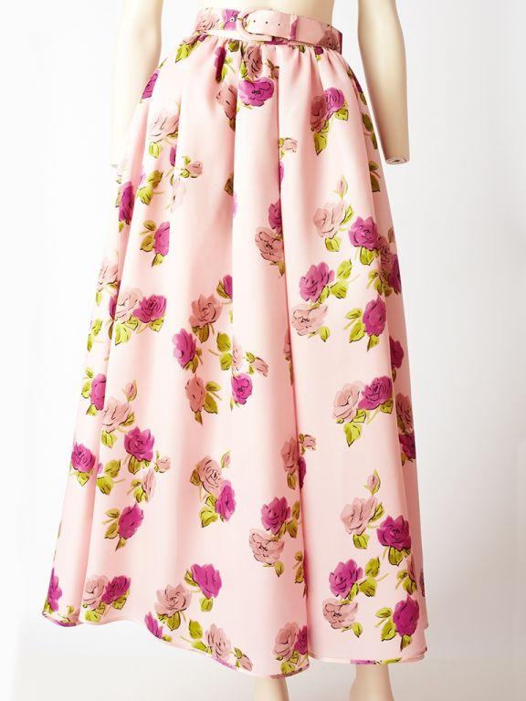 Oscar de la Renta Floral Print Skirt 5