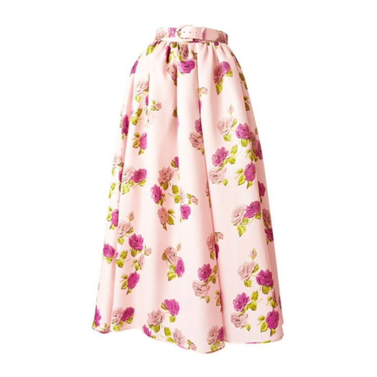 Oscar de la Renta Floral Print Skirt 1