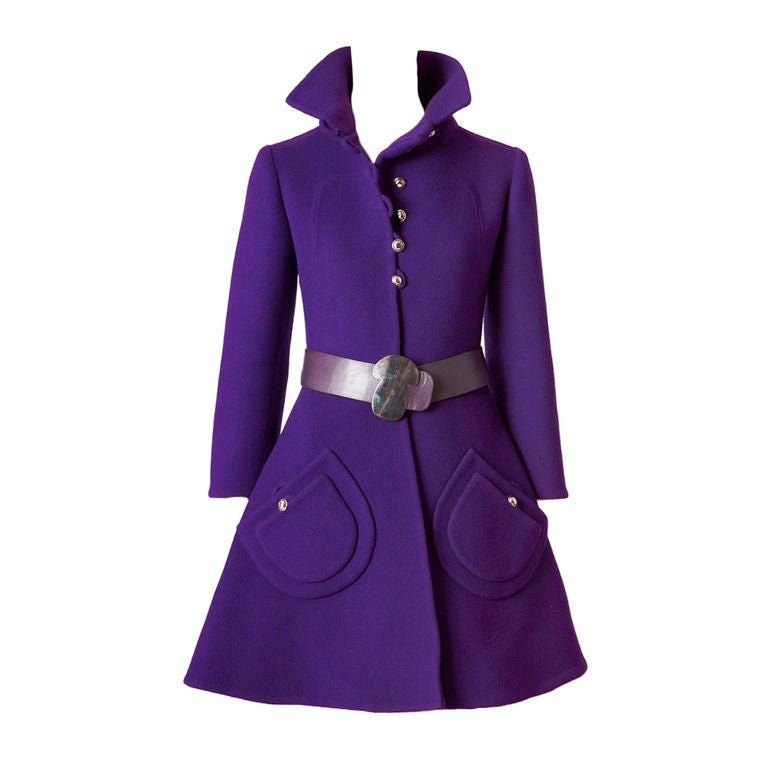 Purple Double Face Wool Mod Coat