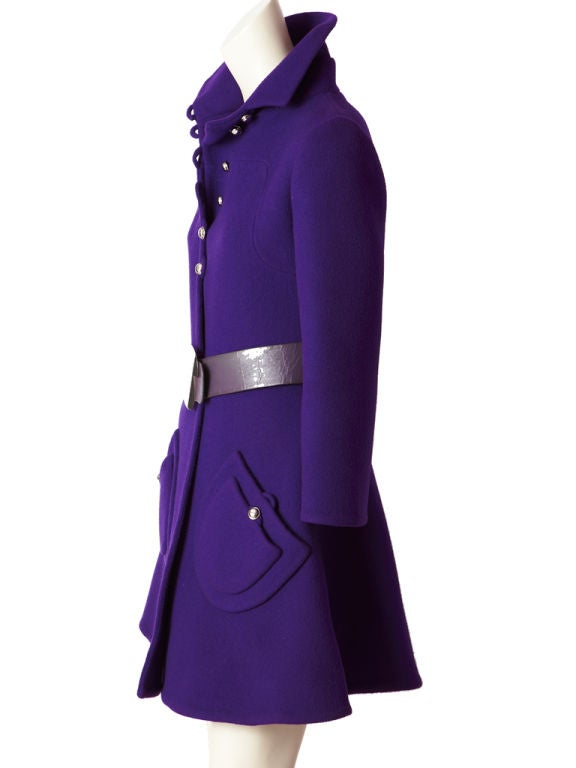 Purple Double Face Wool Mod Coat image 2