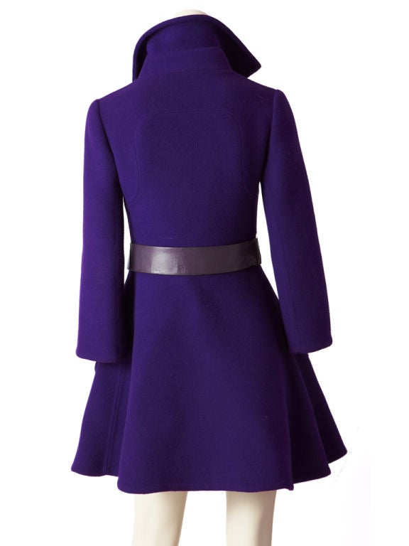 Purple Double Face Wool Mod Coat image 3