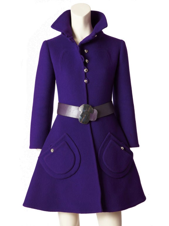 Purple Double Face Wool Mod Coat image 4