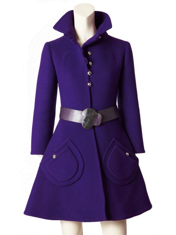 Purple Double Face Wool Mod Coat 4