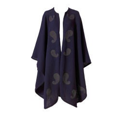 Christian Dior Wool Knit Cape with Paisley Appliques