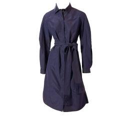 Raph Rucci Navy Blue Taffeta Faille Coat