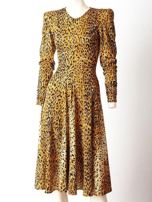 Norma Kamali leopard print, long sleeve, jersey dress c. 1980's