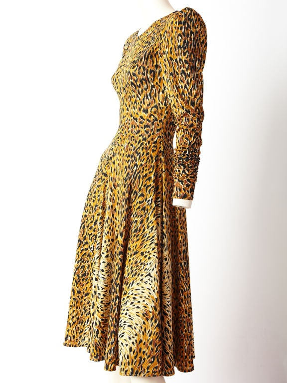 Women's Norma Kamali Leopard Print Jersey Dress