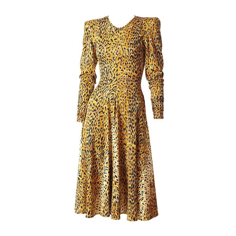Norma Kamali Leopard Print Jersey Dress