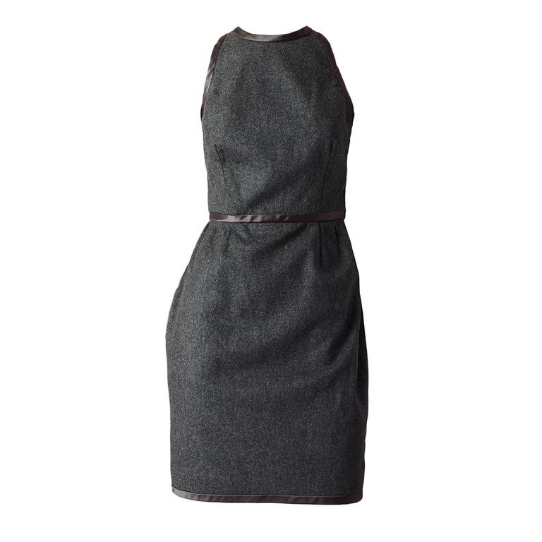 Carolyne Roehm Gray Wool Flannel Halter Dress For Sale