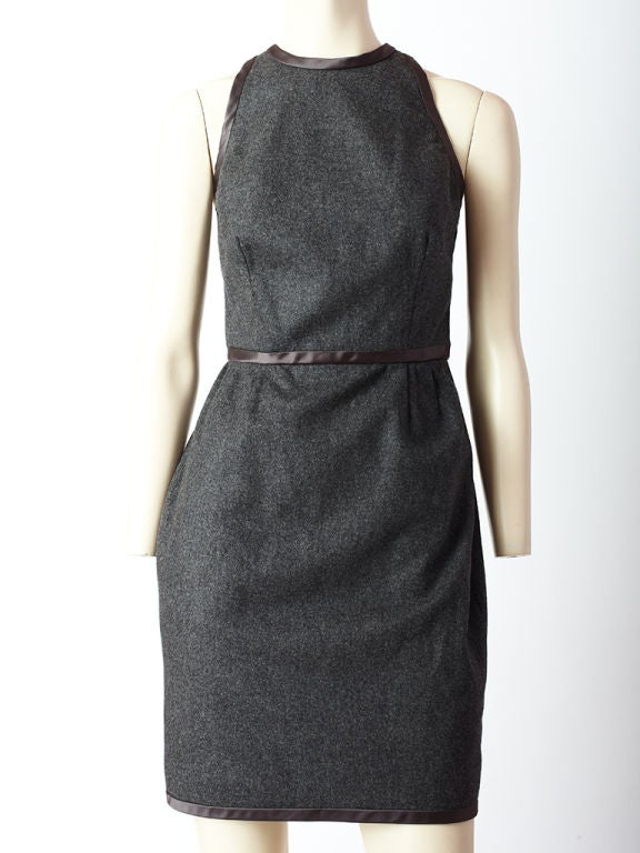 Carolyne Roehm gray wool flannel halter, cocktail dress with open <br />