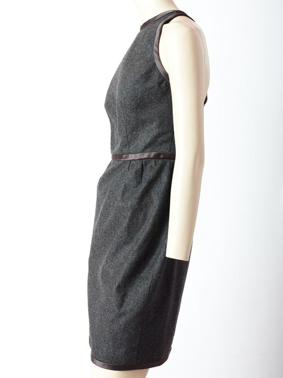 Carolyne Roehm Gray Wool Flannel Halter Dress image 3