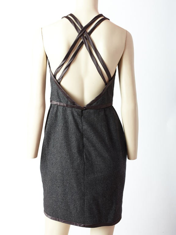 Carolyne Roehm Gray Wool Flannel Halter Dress For Sale 1