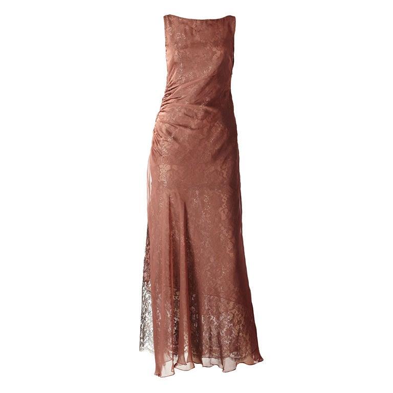Valentino Metallic Lace and Chiffon Gown 1