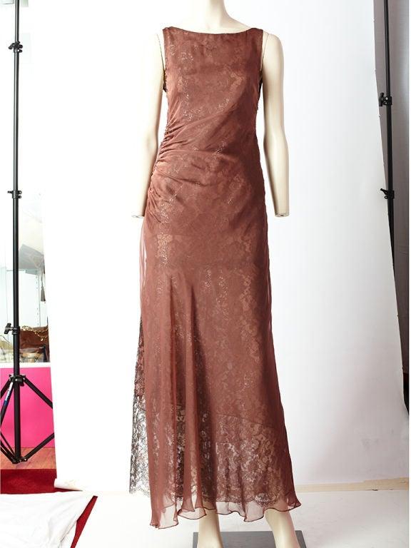 Valentino Metallic Lace and Chiffon Gown 2