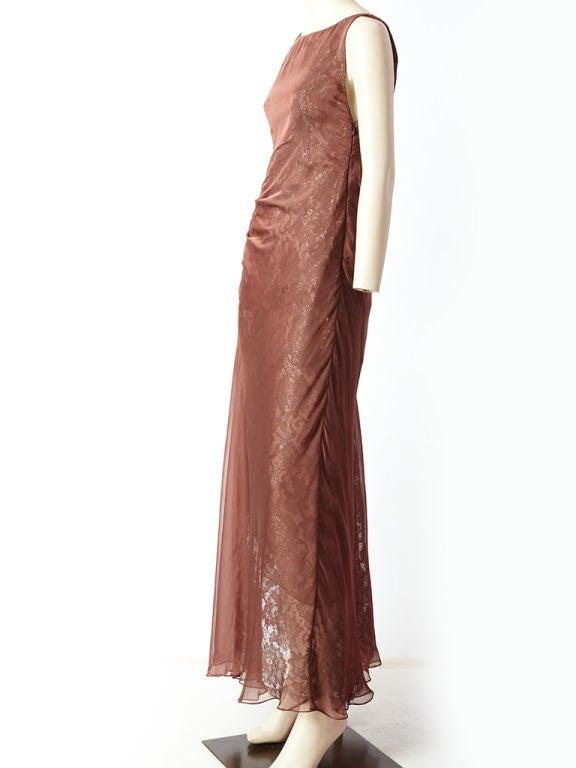 Valentino Metallic Lace and Chiffon Gown 3