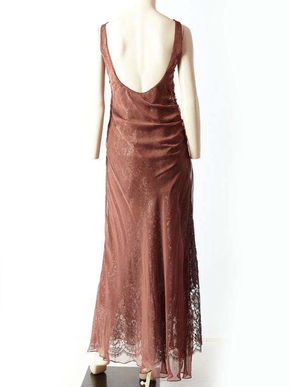 Valentino Metallic Lace and Chiffon Gown 4