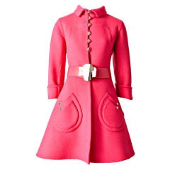 Hot Pink 60's Wool Belted Coat