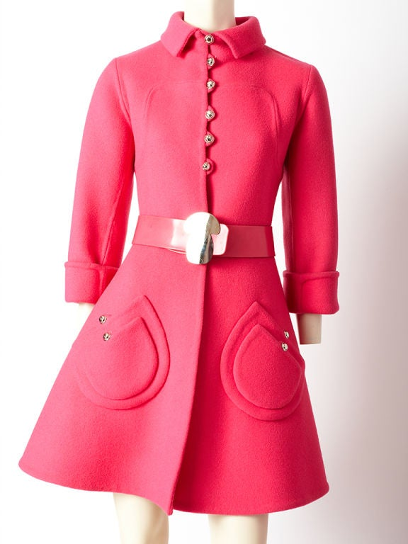 Hot Pink 60's Wool Belted Coat image 2