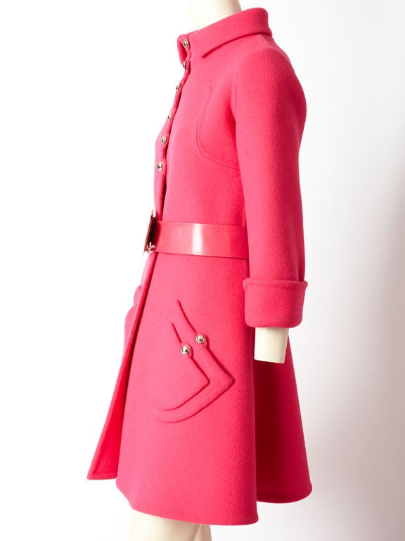 Hot Pink 60's Wool Belted Coat image 3