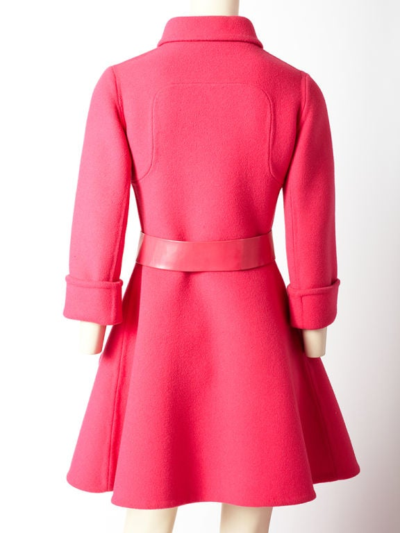 Hot Pink 60's Wool Belted Coat image 4