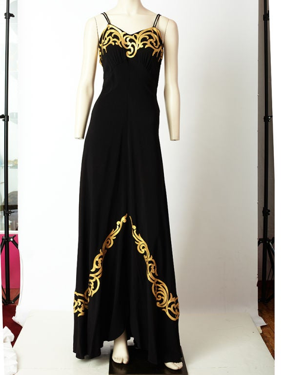 Black satin back crepe, early 1940's, bias cut evening gown with<br />