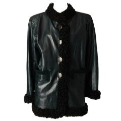 Yves St. Laurent  Leather Jacket with Curly lamb Trim