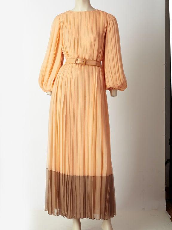 Galanos Pleateed Chiffon Evening Dress 2