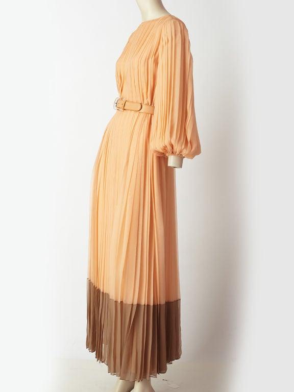 Galanos Pleateed Chiffon Evening Dress 3