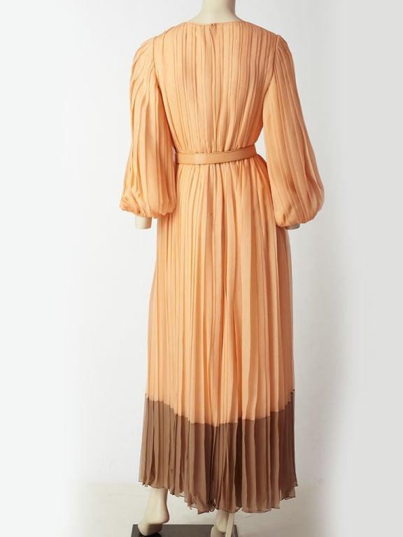 Galanos Pleateed Chiffon Evening Dress 4