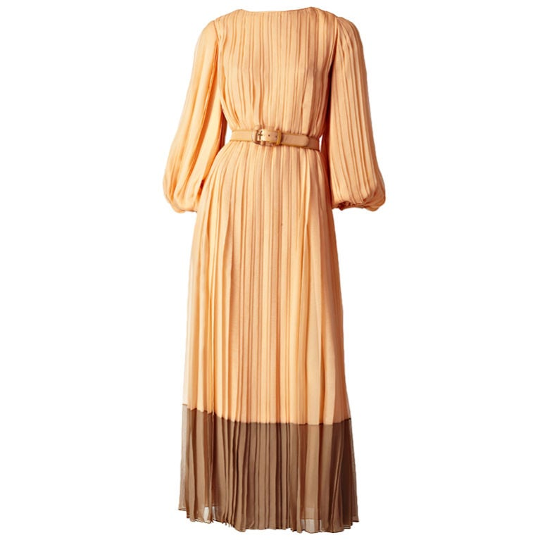 Galanos Pleateed Chiffon Evening Dress 1