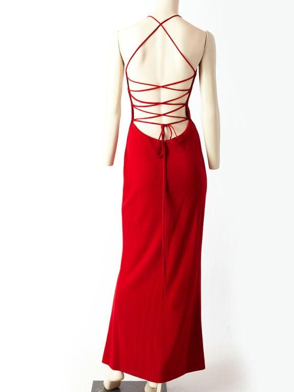 Ann Klein Wool Jersey laced Back Gown 4