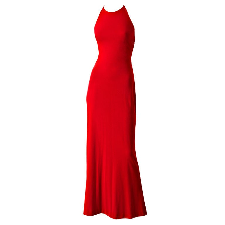 Ann Klein Wool Jersey laced Back Gown 1