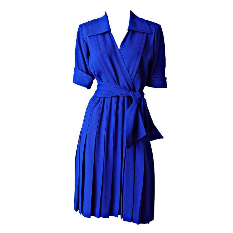 Yves St. laurent Cobolt Blue Day Dress 1