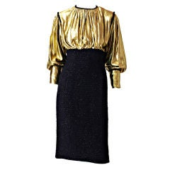 Scassi Gold Lame and Tweed Cocktail dress