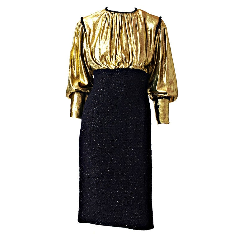 Scassi gold lame and tweed cocktail dress at 1stdibs for Costume jewelry for evening gowns