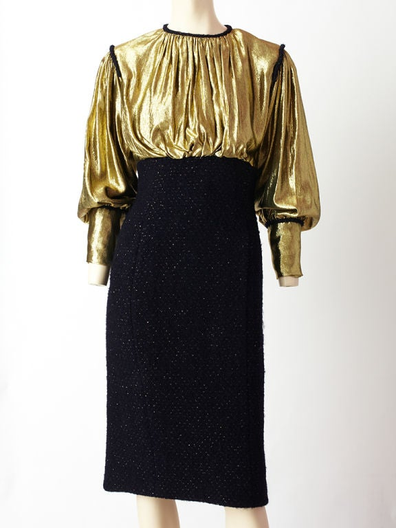 Scassi Gold Lame and Tweed Cocktail dress 2