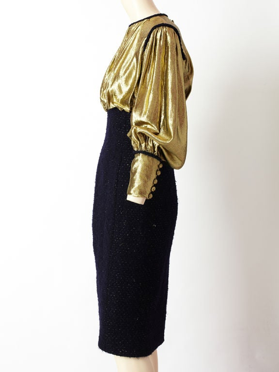 Scassi Gold Lame and Tweed Cocktail dress 3