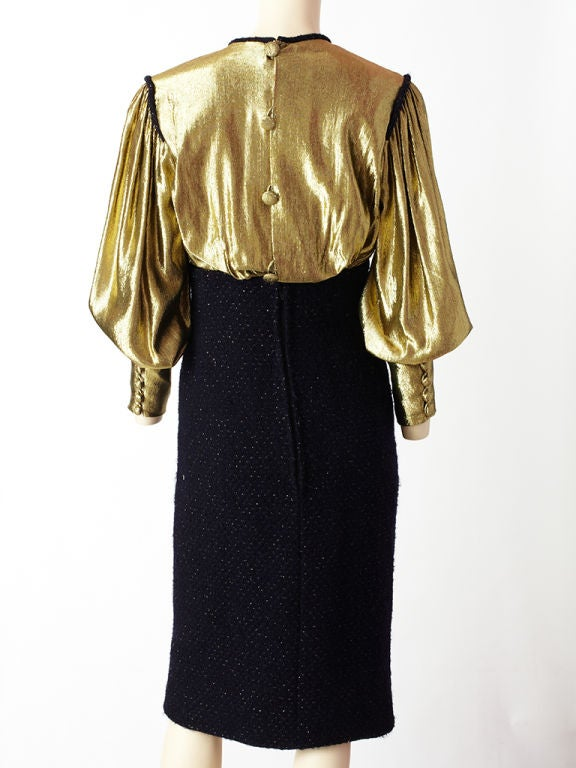 Scassi Gold Lame and Tweed Cocktail dress 4