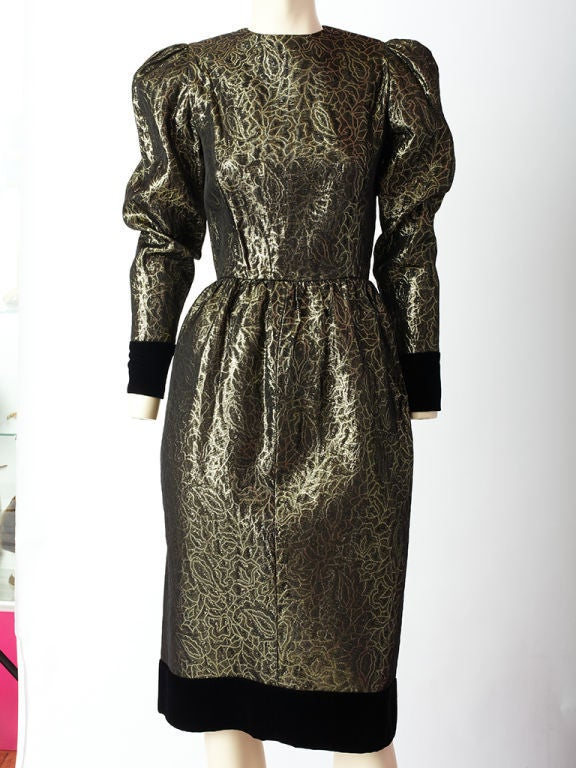 Givenchy Gold lame and Velvet Cocktail Dress 2